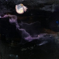"""Reserved. 'Winter Miniatures. Night Clouds'. Mixed media on 3x3"""" wood. Rose Strang 2019"""