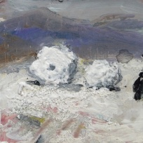 """Sold. 'Winter Miniatures. Giant Snowballs'. Mixed media on 3x3"""" wood. Rose Strang 2019"""