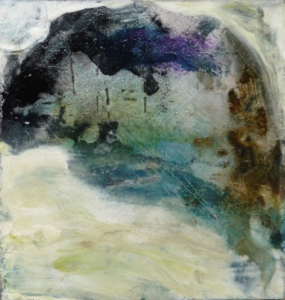 """'Winter Miniatures. Snow Temple'. Mixed media on 3x3"""" wood. Rose Strang 2019"""