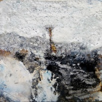 """'Winter Miniatures. Snowed In'. Mixed media on 3x3"""" wood. Rose Strang 2019"""