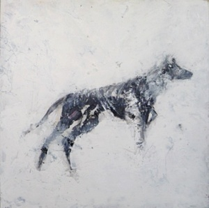 'Wolf'. Mixed media on 12x12 inch canvas. Rose Strang 2019 board