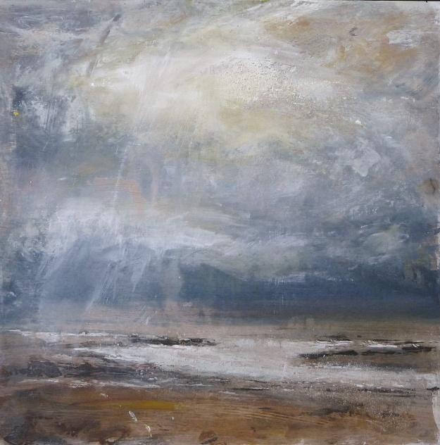 'Aberlady Bay. Dusk'. Mixed media on 13x132 wood panel. Rose Strang 2020.