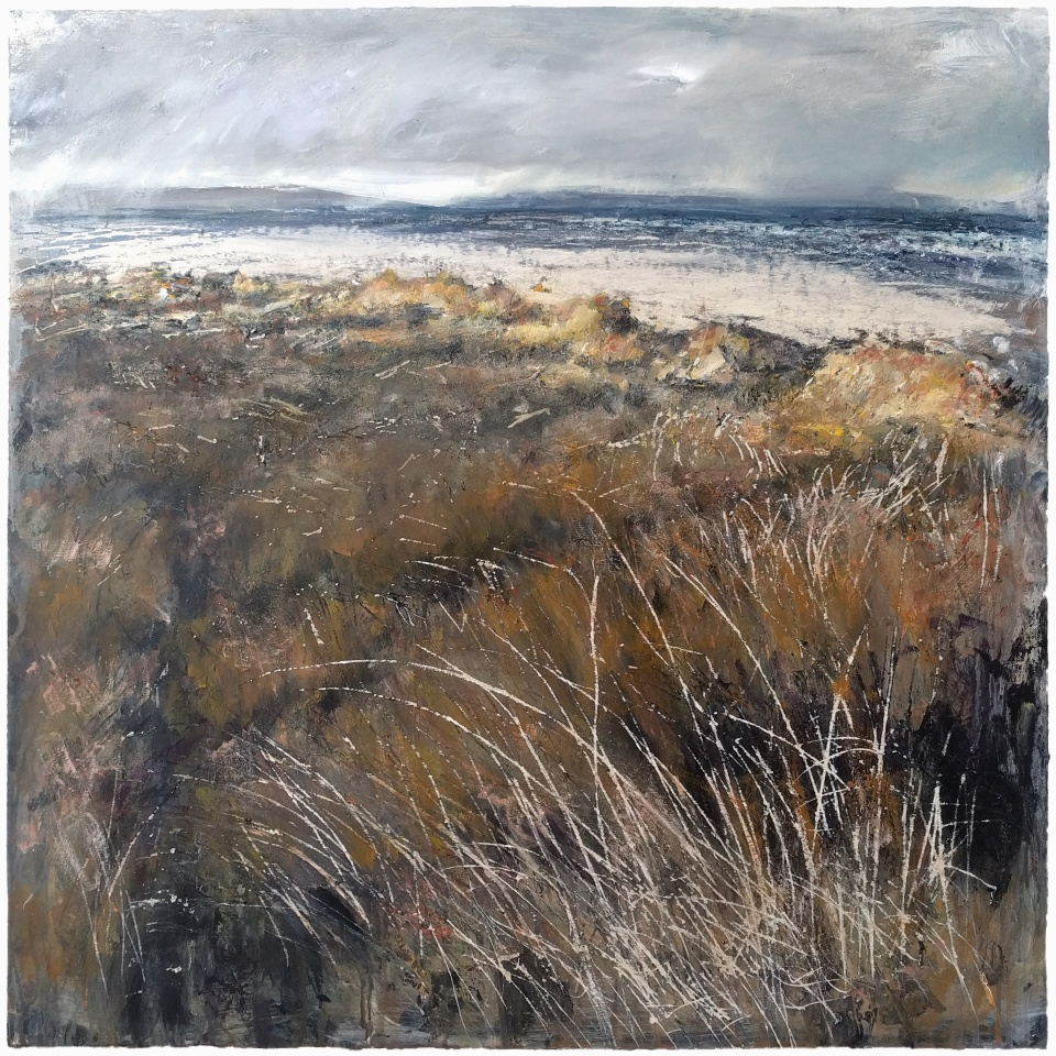 'Aberlady Dunes'. Mixed media on 30x30 inch wood panel. Rose Strang April 2020. (Private Commission, NFS).