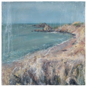 "'North Berwick, Summer'. Mixed media on 18x18"" wood panel. Rose Strang 2020. (NFS, Private Commission)."
