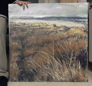 (To show scale)' Aberlady Dunes'. Mixed media on 30x30 inch wood panel. Rose Strang April 2020. (Private Commission, NFS).