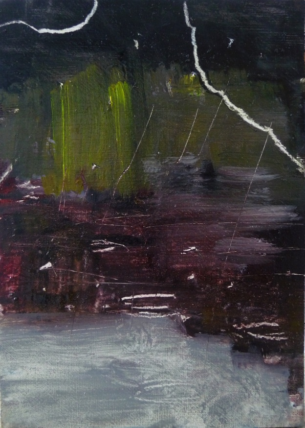 "'Water of Leith. 7'. Oil on 7x5"" wood. Rose Strang, May 2020."