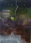 """'Water of Leith. 8'. Oil on 7x5"""" wood. Rose Strang, May 2020."""