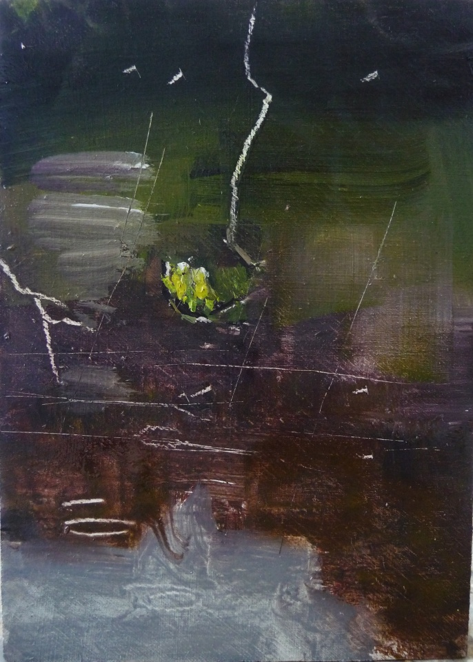 "'Water of Leith. 8'. Oil on 7x5"" wood. Rose Strang, May 2020."