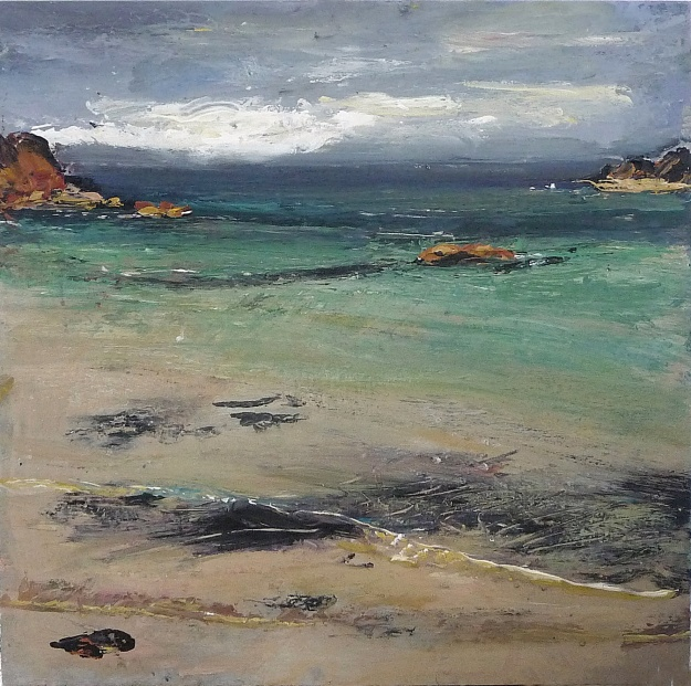 'Traigh Bhan, Turquoise. Iona'. Mixed media on 12x12 inch wood board. Rose Strang 2020