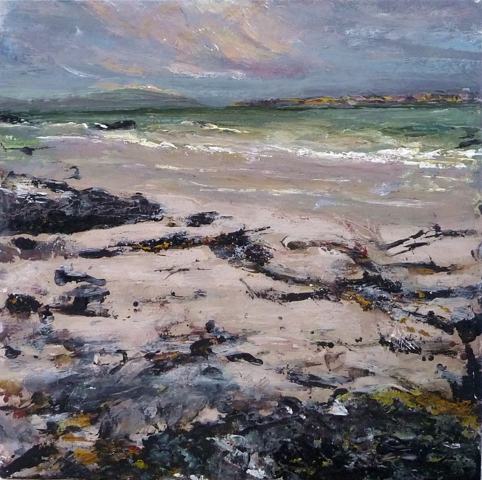 'Traigh Bhan. Early Evening. Iona'. Mixed media on 12x12 inch wood board. Rose Strang 2020