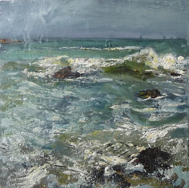 'Traigh Bhan. Waves. Iona'. Mixed media on 12x12 inch wood board. Rose Strang 2020