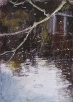 """'Water of Leith. 3'. (Diptyque). Oil on 7x5"""" wood. Rose Strang, May 2020."""