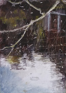 "'Water of Leith. 3'. (Diptyque). Oil on 7x5"" wood. Rose Strang, May 2020."