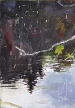 """'Water of Leith. 2'. (Diptyque). Oil on 7x5"""" wood. Rose Strang, May 2020."""