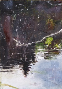 "'Water of Leith. 2'. (Diptyque). Oil on 7x5"" wood. Rose Strang, May 2020."