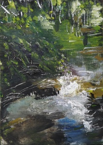 "'Water of Leith. 6'. Oil on 7x5"" wood. Rose Strang, May 2020"