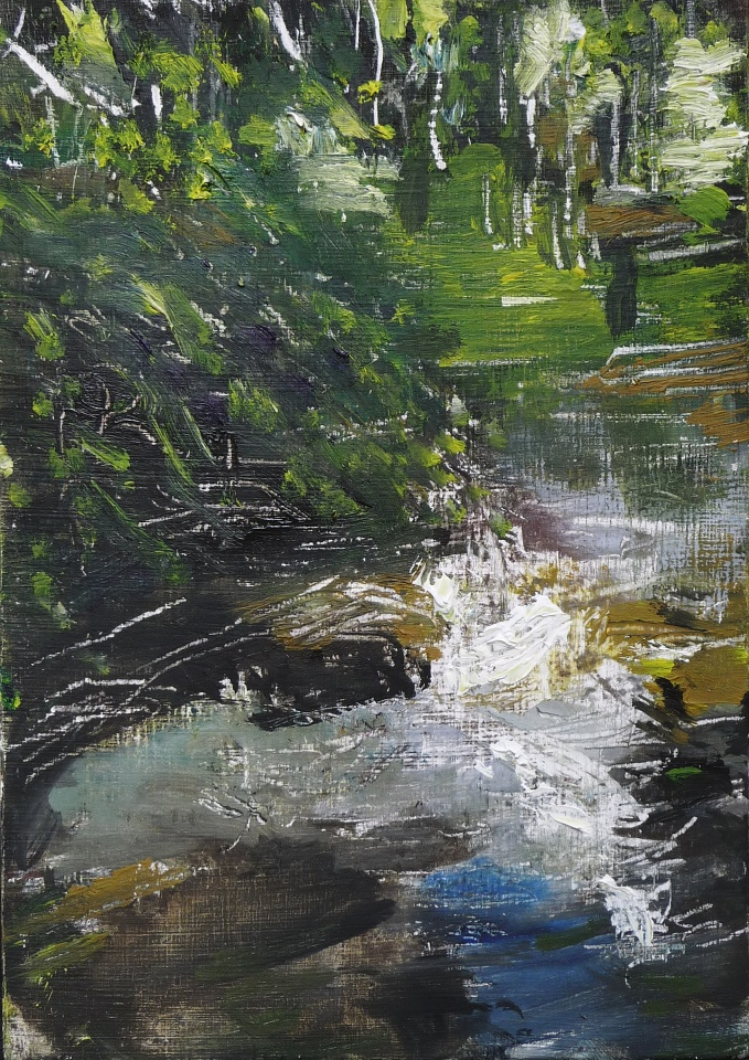 """'Water of Leith. 6'. Oil on 7x5"""" wood. Rose Strang, May 2020"""