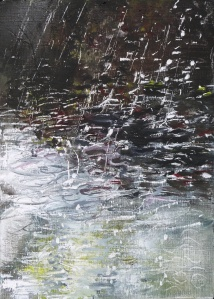 """'Water of Leith. 1'. Oil on 7x5"""" wood. Rose Strang, May 2020."""