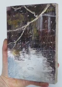 """(To show size) 'Water of Leith. 3'. (Diptyque). Oil on 7x5"""" wood. Rose Strang, May 2020."""