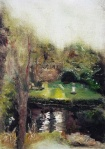 """'Water of Leith. 9'. Oil on 7x5"""" wood. Rose Strang, May 2020."""