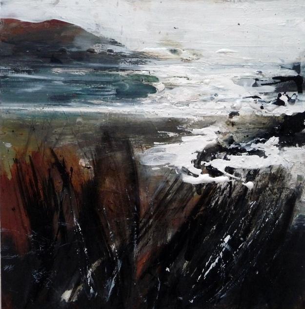 'Sanna Sundown'. Mixed media on 12x12 inch wood board. Rose Strang 2020