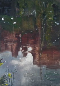 """'Water of Leith. 10'. Oil on 7x5"""" wood. Rose Strang, May 2020. Unframed £250"""