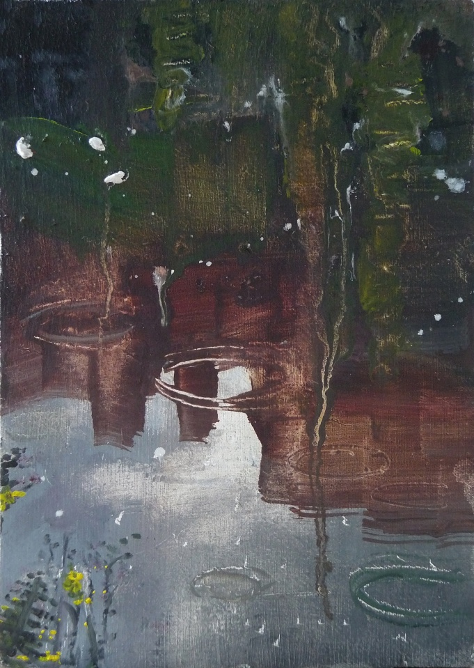 "'Water of Leith. 10'. Oil on 7x5"" wood. Rose Strang, May 2020. Unframed £250"