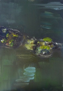 """'Water of Leith. 11'. Oil on 7x5"""" wood. Rose Strang, May 2020. Unframed £250"""