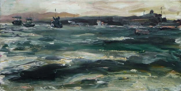'Boats in Lindisfarne Harbour, Early Evening'. Oil on 19x10 inch wood panel. Rose Strang 2020