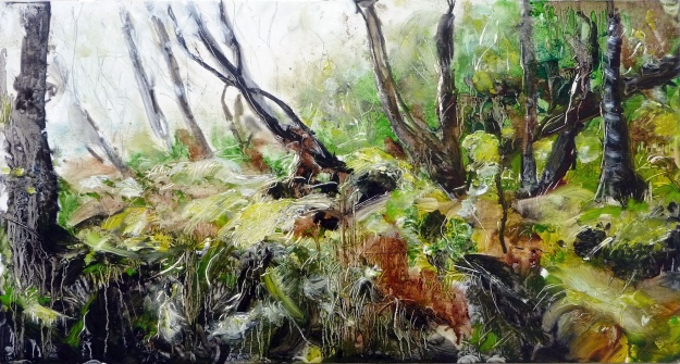 'Forest of Ardban'. Oil on 20 x 10 inch wood panel. Rose Strang 2020