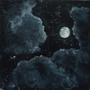 'Moon. Iona'. Acrylic and oil on 10x10 inch wood. Rose Strang 2018