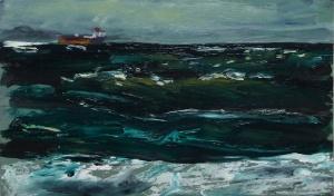 'Oil Tanker Near North Berwick'. Oil on 19x11 inch wood panel. Rose Strang 2020