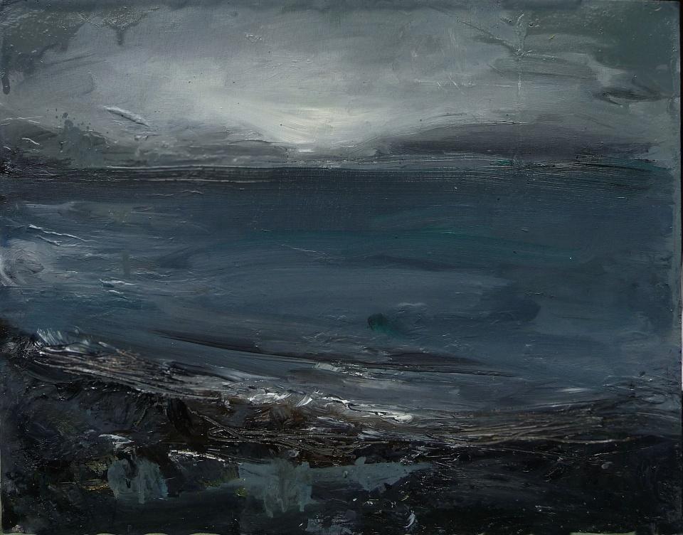 "'Ardban Evening' Oil on 17x11"" wood. Rose Strang 2020"