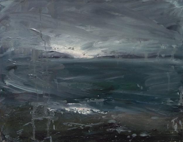 'Ardban Evening' Oil on 17x112 wood. Rose Strang 2020