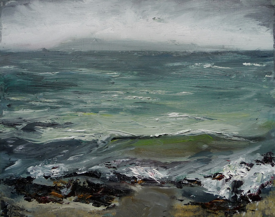 "'Ardban. Green Sea'. Oil on 17x11"" wood. Rose Strang 2020"