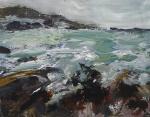 (In progress) Ardban, In-coming Tide. Mixed media on 14x112 wood. Rose Strang 2020