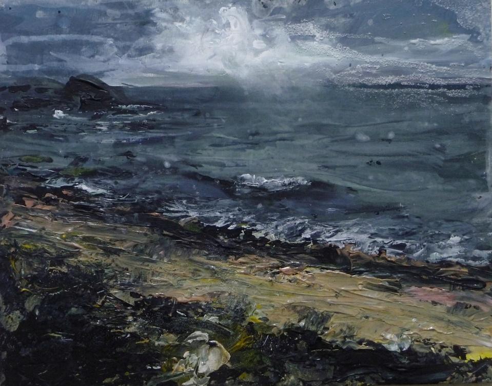 "(In progress). Ardban Waves, Evening. Mixed media on 17x11"" wood. Rose Strang 2020"