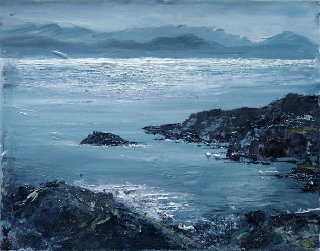 "'Ardban. Sea Shimmer'. Oil on 14x11"" wood. Rose Strang 2020"