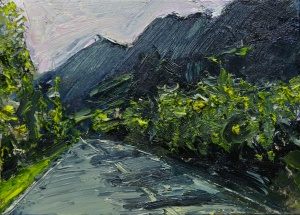 "'Road. Kintail' Oil on 7x5"" wood. Rose Strang 2020"