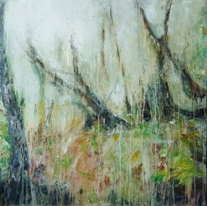 "'Ardban. Forest Rain'. Oil on 19 x 19"" wood. Rse Strang 2020"