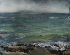 "'Ardban,. Green Waves. Oil on14x11"" wood. Rose Strang 2020"