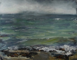 "'Ardban,. Green Waves. Oil on14x11"" wood. Rose Strang 2020"