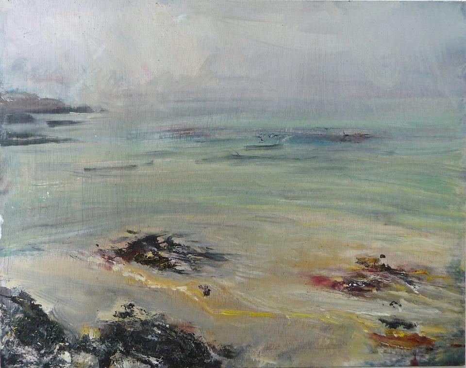 'Ardban, Morning Mist' Oil on 17x112 wood. Rose Strang 2020