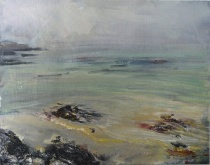 'Ardban, Morning Mist' Oil on 17x112 wood. Rose Strang 2020
