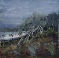 'Ardban. Forest and Sea'. Oil on 19x192 wood. Rose Strang 2020