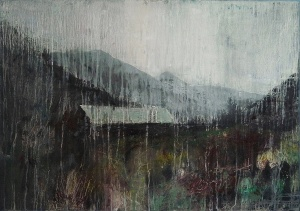 "'Through Kintail 2'. Oil on 33x23"" wood. Rose Strang 2020"