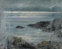 "'Ardban. Shimmering Sea'. Oil on 14x11"" wood. Rose Strang 2020"