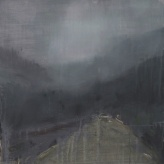 "'T'Through Kintail 4'. Oil on 19x19"" wood. Rose Strang 2020"