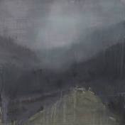 "'T'Through Kintail 4'. Oil on 19x19"" wood. Rose Strang 2020"