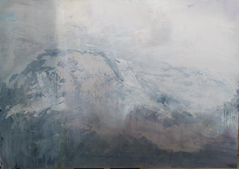"'Beinn Odhar Bheag, Glenfinnan'. Acrylic and oil on 33x23"" wood panel. Rose Strang 2020"